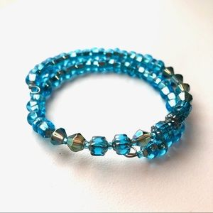 Blue handmade crystal wrap bracelet